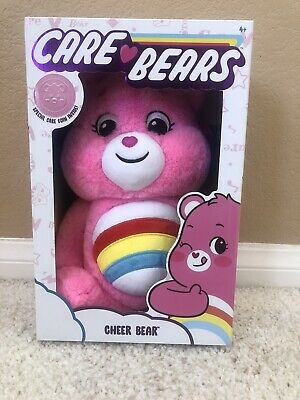 """Details about  /2020 Care Bears CHEER BEAR with Coin 14/"""" Plush Stuffed Animal PINK Bear Rainbow"""