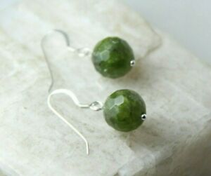 Peridot-Natural-Green-Gemstone-10mm-Faceted-Ball-925-Sterling-Silver-Earrings