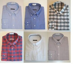 Mens-100-Cotton-Oxford-Weave-Button-Down-Collar-Long-Sleeve-Shirts