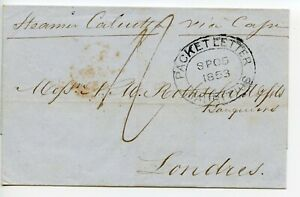 MAURITIUS-1853-PACKET-LETTER-oval-by-034-Steamer-Calcutta-via-Cape-034-to-London