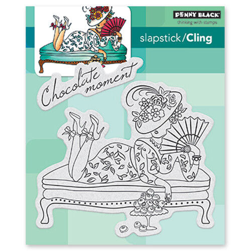 New Penny Black CHOCOLATE MOMENT Slapstick Cling Rubber Stamp Woman Fancy Sweets