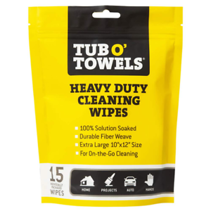 Tub O Towels Heavy Duty Cleaning Wipes Multi Surface Grease Dirt Remover 15 Pack