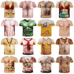 4867e8d5 Funny Cool New T-Shirt Men Women 3D Fake Abs & Muscle Man Full Print ...