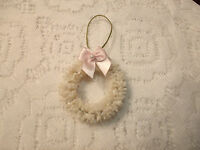 Mini Wreath Tree Ornament Shabby Bottle Brush Chic Christmas Miniature Pink Bow