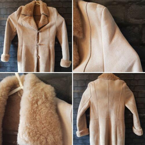 Damen Next Beige Original Schafe Haut lange Mantel Jacke Größe 12 Herbst Winter