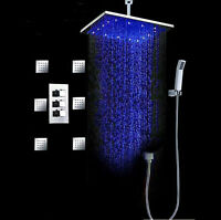 "Thermostatic LED 12"" Rain Shower Faucet 6 Massage Jets Body Spray Hand Shower"