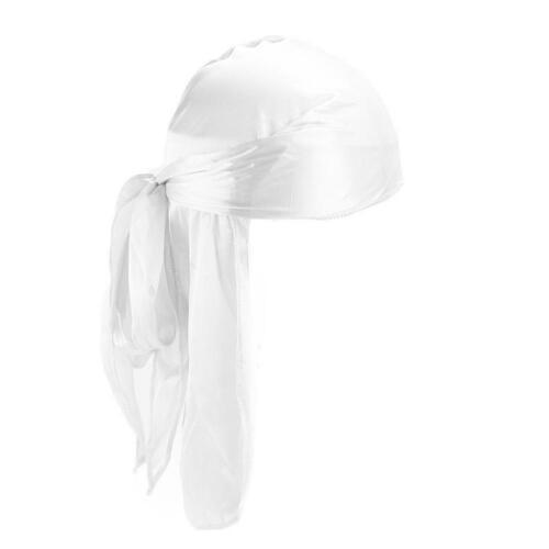 New Unisex Men Women Turban Hat Durag Headwear Headband Soft Silk Pirate Cap
