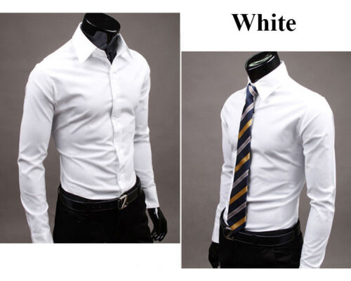 Luxury Shirts Mens Casual Formal Dress Slim Fit Formal Work Business T-Shirt Top