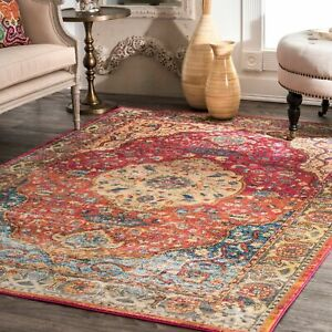 nuLOOM-NEW-Traditional-Vintage-Medallion-Area-Rug-in-Rust-Red-Orange-Blue