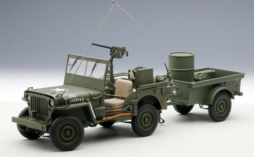 74016 AUTOart 1:18 Jeep Willis (Army Green) Trailer accessory included