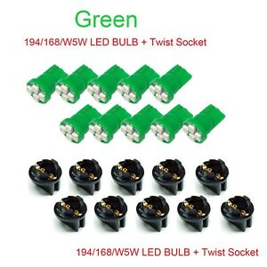 30x T10 Twist Lock Wedge Instrument Panel Green LED Dash Light Bulb PC168 PC194