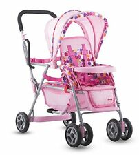 Joovy Toy Caboose Tandem STROLLER, 5-Point Harness BABY DOLL STROLLER, Pink Dot