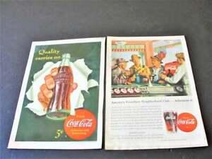 1942-1946-Coca-Cola-Quality-cares-on-Drink-Coca-Cola-Set-of-2-Magazine-Ad