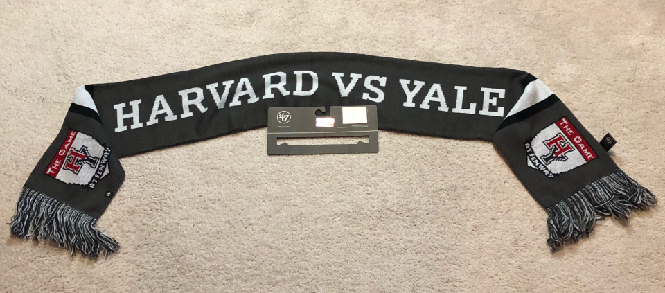 """HARVARD vs. YALE NCAA Winter SCARF """"The Game"""" at Fenway Park Nov 17, 2018 NEW 2"""