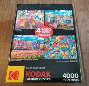 4 Kodak Premium 1000-Piece Colorful Puzzles = 4000 Total Pieces - Factory Sealed