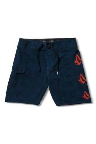 Volcom Boys Toddler 4//4T Board Shorts Swim Trunks Navy Blue Red Deadly Stones