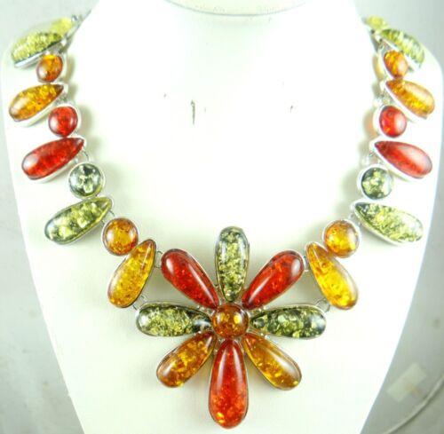 Precious Modernist Multicolor Gem amber Handmade Gemstone Jewellery Necklace P30