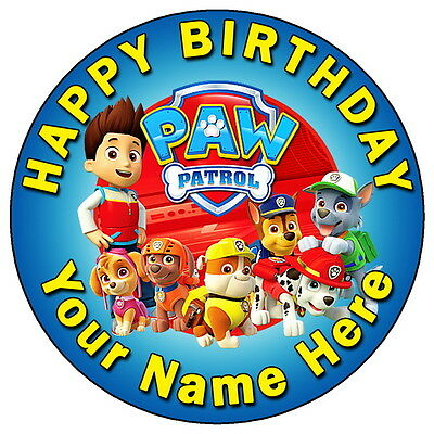 """PAW PATROL FUN TEAM PARTY - 7.5"""" PERSONALISED ROUND EDIBLE ICING CAKE TOPPER"""