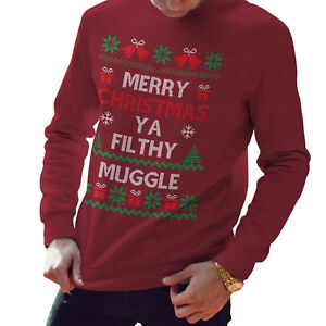 9be607d9 Image is loading Merry-Christmas-Ya-Filthy-Muggle-Christmas-Jumper-Funny-