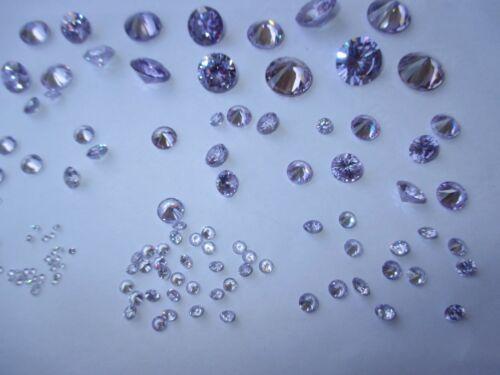 10 CZ Lavendel 2 mm rund Cubic Zirkonia Brillantschliff synthetische Edelsteine