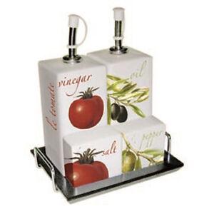 860005 Tomato Olive Salt Pepper Shaker Oil Vinegar Cruet Set5 Ebay