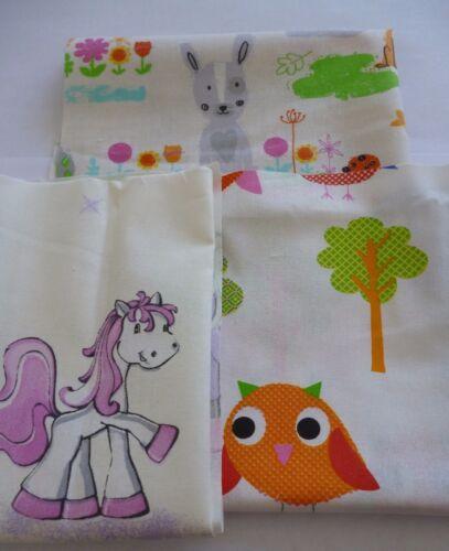 3 pedazo de tela restos de tela paquete patchwork sustancias algodón fantasía caballos aves