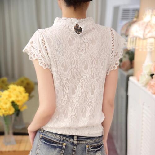 Ladies Blouse Plus Size Petal Sleeve Floral Lace Top Sweet Elegant Chiffon Shirt