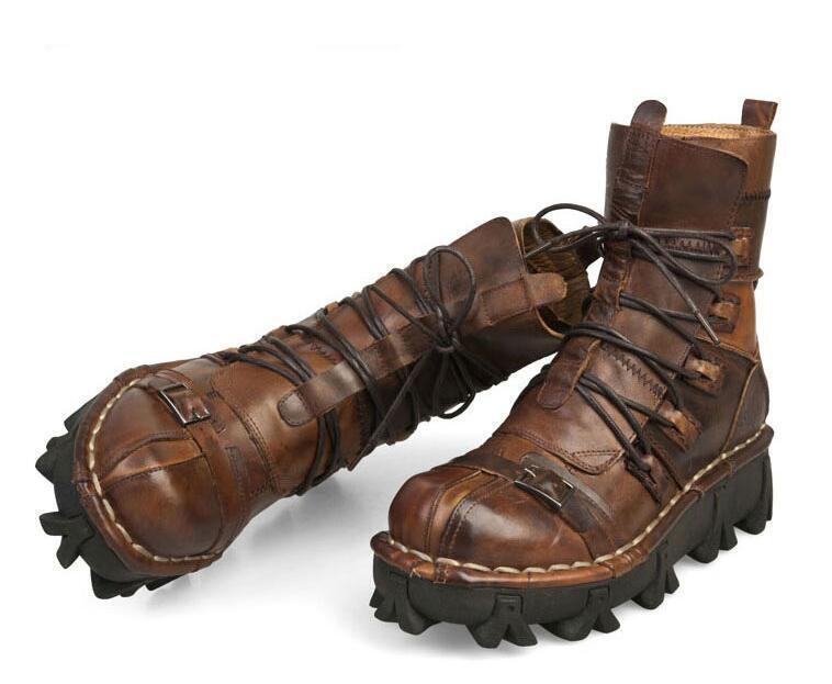 Para hombres Cuero Con Cordones Hebilla Punk Rock Gótico Motocicleta De Combate Tobillo botas Zapatos