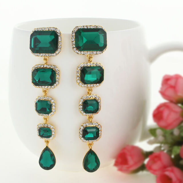 Fashion Retro Square Drop Dangle Pierced Earring Emerald Green Austrian Crystal