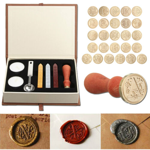 Vintage Initial Letters A-Z Alphabet Wax Badge Seal Stamp Kit Wax Set Tool Gift