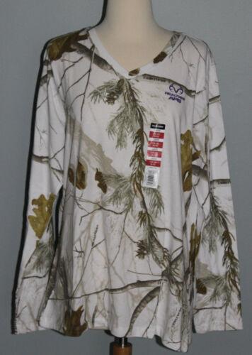 New Ladies REALTREE APS White Snow Camo Purple Long Sleeve T-Shirt Womens S L XL
