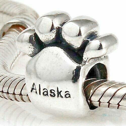 Paw Print Polar Bear Paw Print encanto grano de plata esterlina 925
