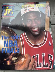 1991 Tuff Stuff Jr. NBA Finals Issue w/ Michael Jordan Magazine With, Card Sheet