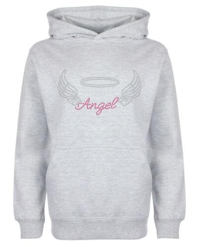 Angel with Wings Rhinestone//Diamante Embellished Hoodie 3 to 13 years Gift