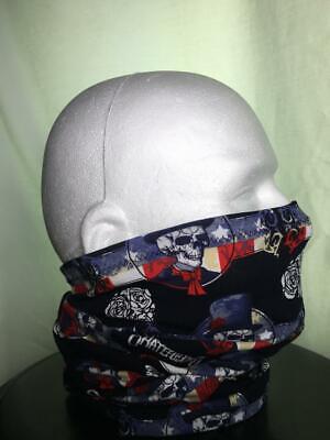 X Large Short Cotton Face shield Neck Gaiter Face Mask Buff covering Grateful