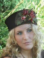 Victorian Trading Co Latte Brown With Roses And Netting Pill Box Hat on sale