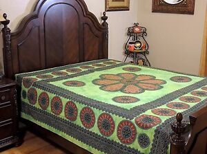 Green-Floral-Dot-Print-Bedding-Cotton-Indian-Ethnic-Bed-Sheet-Tapestry-Full