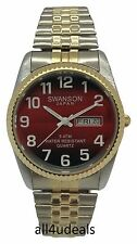 Mens Swanson Big Numbers Red Dial Gold Silver Stretch Elastic Band Watch