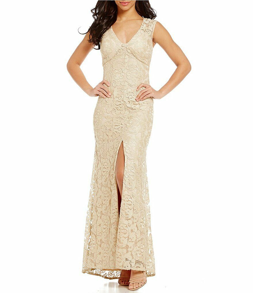 Aidan Mattox Illusion Sleeve V-Neck Metallic Lace Gown-Champagne Sz 0, 2, 4 NWT