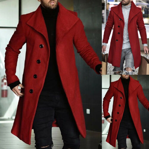 Men/'s Slim Winter Warm Lapel Trench Coat Double-Breasted Overcoat Long Jacket