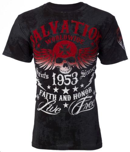 ARCHAIC by AFFLICTION T-Shirt BLACK TIDE Skull Tattoo Motorcycle Biker UFC $40 d