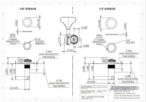 Hipshot Ultralite USA Tuner HB6Y 1//2 Gold 2x2 Set Auth Dealer