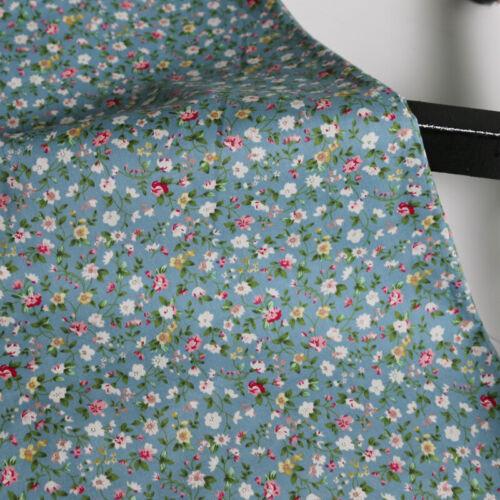 1Yard*147cm Grey Blue Elegant Floral Cotton Fabric Printed Calico Cotton Poplin