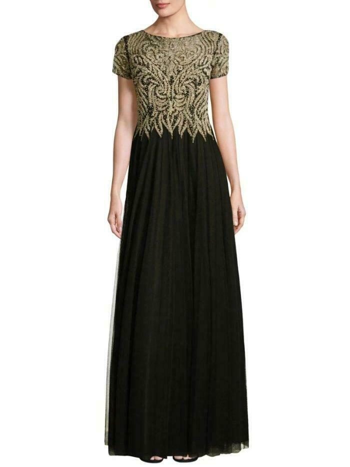 BASIX BLACK LABEL Size 2 Black/Gold Short Sleeve Beaded Tulle Gown NWT