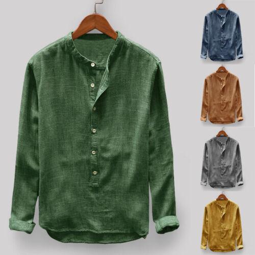 Mens Collarless Long Sleeve Shirt Vintage Chinese Slim Fit Casual Formal Top Tee