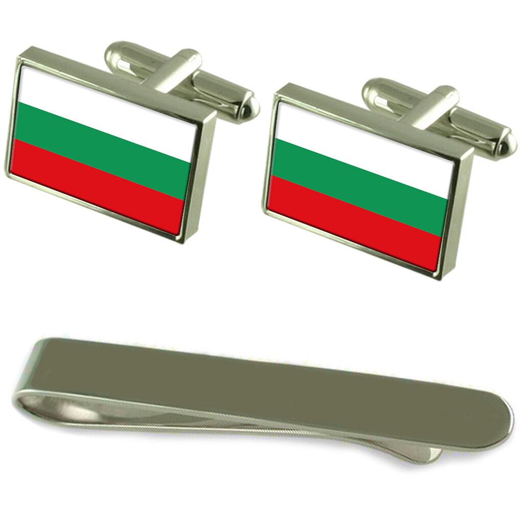 BULGARIA FLAG argentoo Gemelli Fermacravatta Box Box Box Set Regalo 5cff03