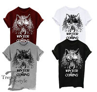 WINTER IS COMING SLOGAN DIRE WOLF GAME OF THRONES T-SHIRT UNISEX 100% COTTON