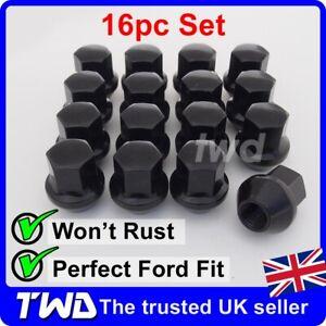 16x WHEEL NUTS - FORD (M12x1.5) ALLOY BLACK TAPERED SEAT 19MM HEX BOLT STUD -16B