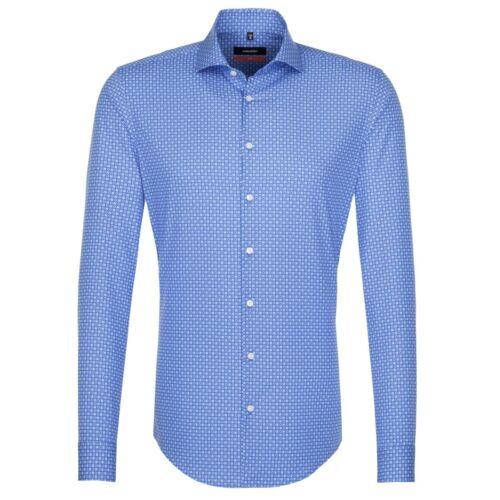 Seidensticker Uomo Camicia Manica Lunga Slim Blu/Bianco a Quadri Print 676920.16
