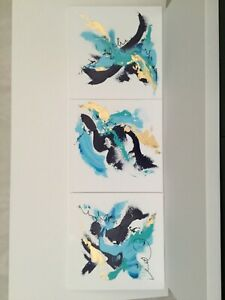 """Original Painting Abstract Acrylic Art on canvas Set of 3 paintings 14""""x14 each"""